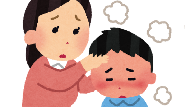 发烧的孩子和看他的母亲之图,発熱している子どもとその子を見る母親の画像